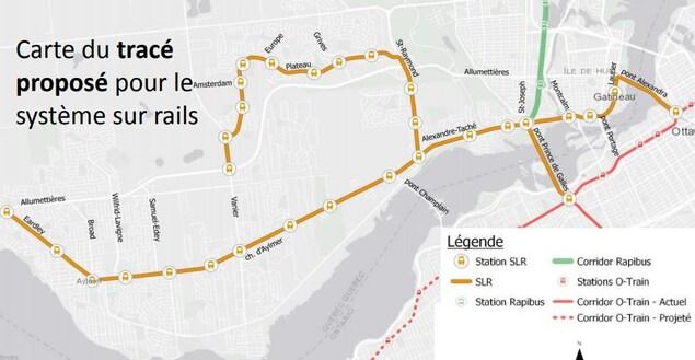Le tracé montre que la ligne partirait du boulevard des Allumettières et du chemin Eardley, passerait par le chemin d'Aylmer, le boulebard Taché et la rue Laurier pour joindre Ottawa par le pont Alexandra. Une autre voie partirait du boulevard Taché pour se rendre dans le Plateau par le boulevard Saint-Raymond et du Plateau.