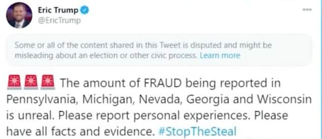 Capture d'écran d'un tweet d'Eric Trump. Il est écrit : « The amount of FRAUD being reported in Pennsylvania, Michigan, Nevada, Georgia and Wisconsin is unreal. Please report personal experiences. Please have all facts and evidence. #StopTheSteal ».