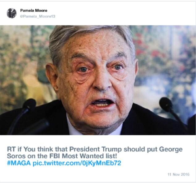 Nous voyons une photo de l'homme d'affaires George Soros. «Partagez si vous pensez que le président Trump devrait mettre George Soros sur la liste des criminels recherchés du FBI», est-il écrit.