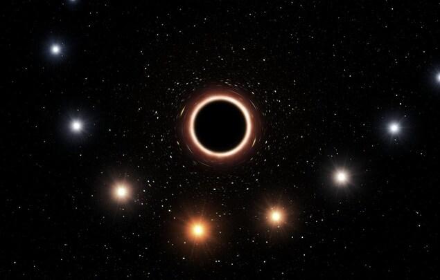 Impression artistique de l'étoile S2 passant à proximité du trou noir supermassif situé au centre de la Voie lactée.