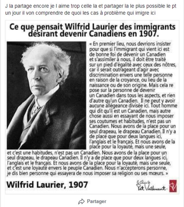 On voit une photo de Wilfrid Laurier, accompagnée d'une longue citation. Vous pouvez retrouver cette citation dans l'article.