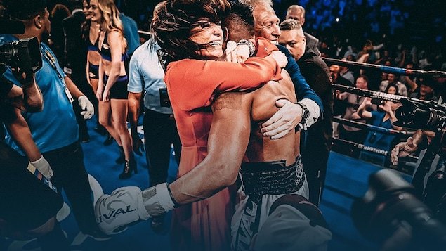 Alexandra Croft enlace le boxeur Eleider Alvarez.