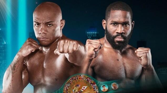 Affiche promotionnelle du combat avec les deux boxeurs qui montrent les poings.