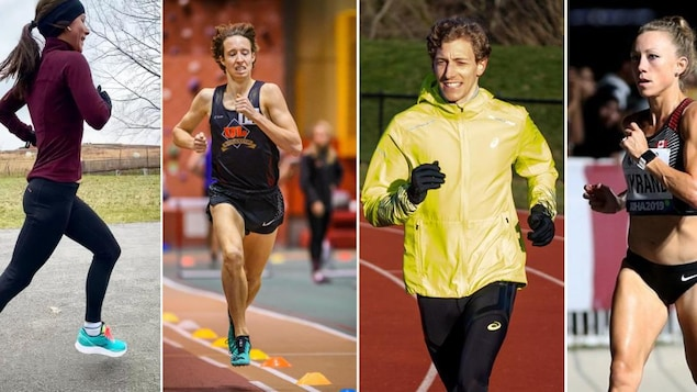 Montage des quatre athlètes en action