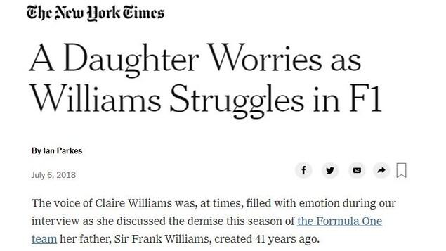 «Une fille s'inquiète alors que Williams en arrache.»  - Ian Parkes, New York Times