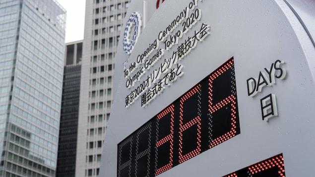 L'horloge du compte à rebours olympique à Tokyo