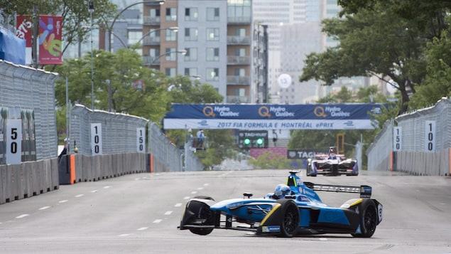 Le pilote Sébastien Buemi pendant les essais au Grand prix de formule E de Montréal