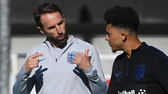 Contre la Croatie, Jadon Sancho (à droite) a eu «un très bon impact», selon l'entraîneur-chef de l'Angleterre, Gareth Southgate.