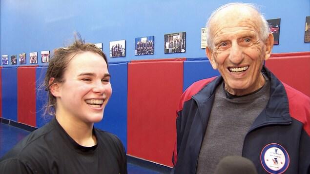 La lutteuse Linda Morais en compagnie du mécène George Reinitz