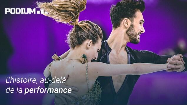 Gabriella Papadakis et Guillaume Cizeron lors de leur programme court en danse aux Jeux olympiques de Pyeongchang.