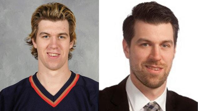 À gauche, Jeff Drouin-Deslauriers au début du camp des Oilers en 2006.  À droite, lors de son embauche par la compagnie Cushman & Wakefield.