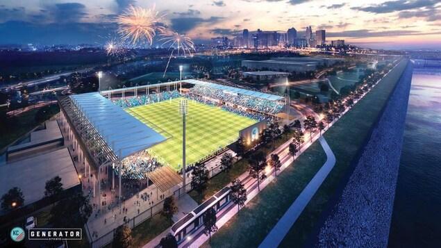 Le dessin d'un stade de soccer par une belle soirée d'été.