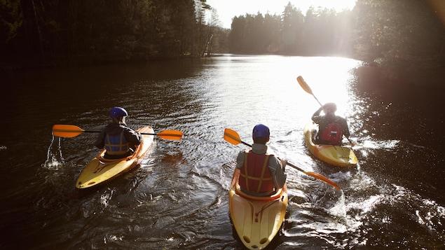 Trois kayakistes sur un cours d'eau