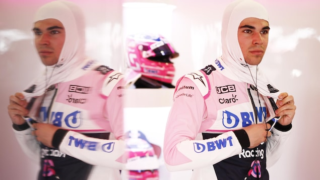 Lance Stroll dans le garage Racing Point