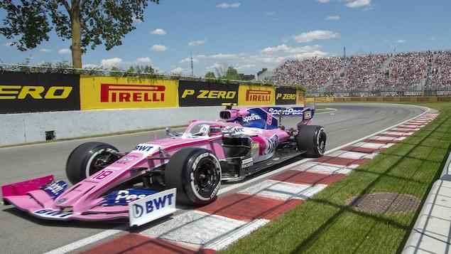 Lance Stroll en action sur le circuit Gilles-Villeneuve pendant les essais du Grand Prix du Canada.