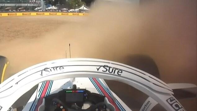 Lance Stroll glisse hors piste à Silverstone.