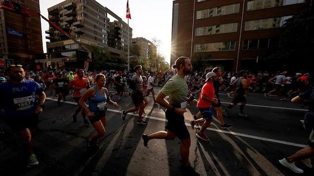 Des coureurs au marathon de Montréal