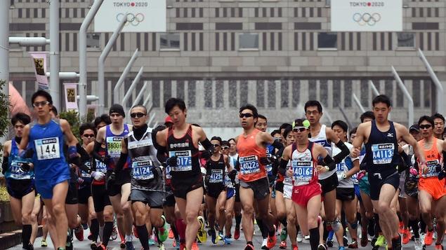 Le départ du marathon de Tokyo, en 2015