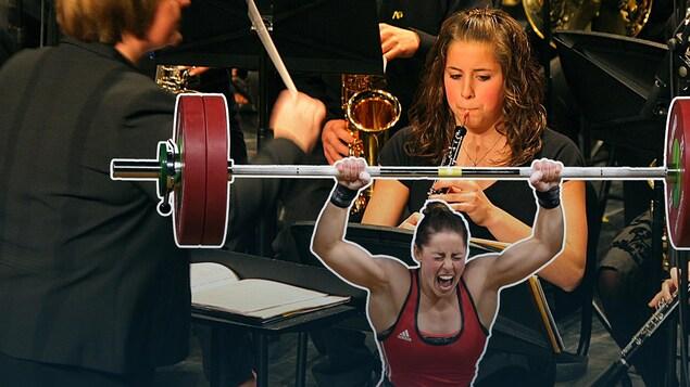 Une jeune femme est montrée en train de lever une barre d'haltérophilie et, sur une autre partie de l'image, en train de jouer du hautbois pendant un concert.