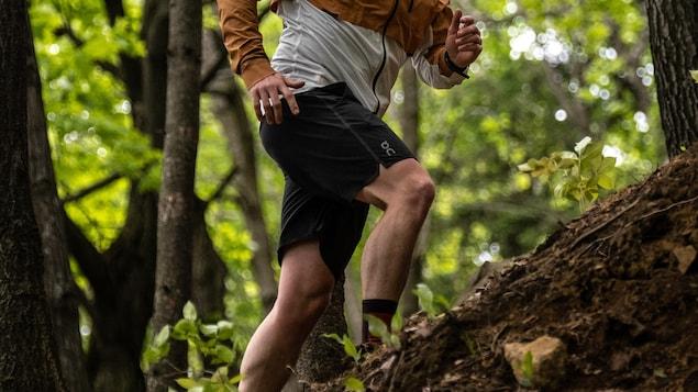 Il court dans le bois.