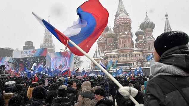 Un rassemblement en appui aux athlètes russes à Moscou, avant les Jeux olympiques de Pyeongchang