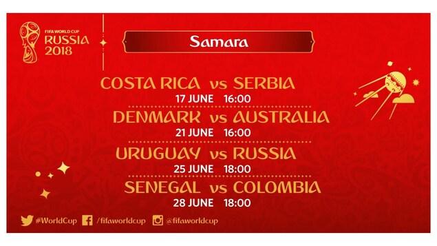 Les matchs de poule présentés au stade de Samara