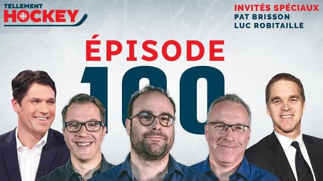 Les visages de Pat Brisson, Alexandre Gascon, Alexandre Coupal, Martin Leclerc et Luc Robitaille