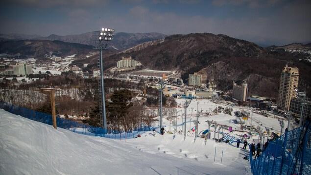 La piste des bosses des événements tests des Jeux olympiques de Pyeongchang