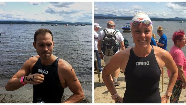 Le nageur sherbrookois Xavier Desharnais et la nageuse de Kingsey Falls Marie-Laurence Lortie, avant leur départ