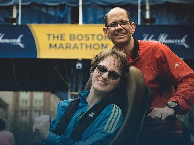 Marie Michelle Fortin et Sébastien Roulier au Marathon de Boston