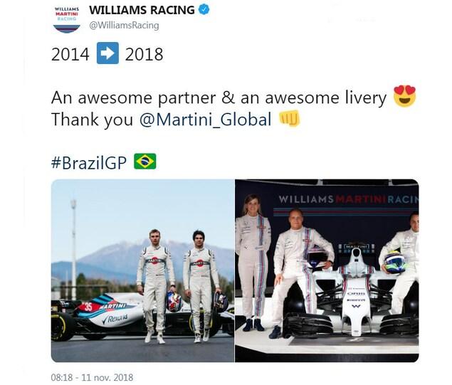 L'équipe Williams dit merci à Martini pour son partenariat depuis 2014.