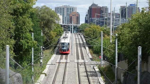 Le train léger sous les câbles électriques qui l'alimentent en courant.