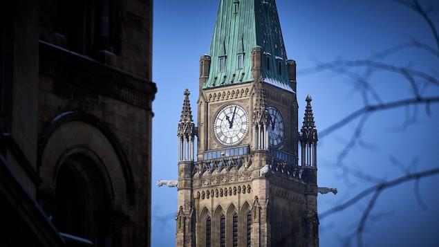 L'horloge située au haut de la tour centrale du parlement du Canada.
