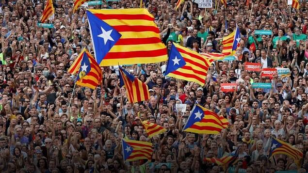 Des manifestants en Catalogne