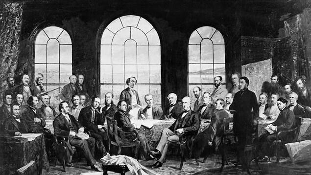 Un tableau de Robert Harris dépeignant la conférence à Québec qui pose les bases de l'Acte de l'Amérique du Nord britannique en 1864.