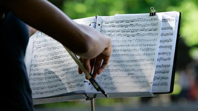 une violoniste joue dans un parc