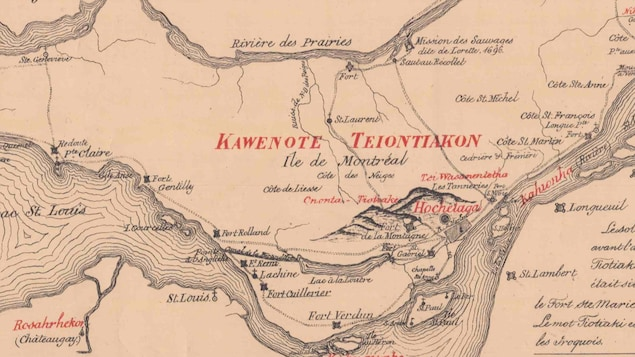 Une vieille carte de l'île de Montréal.