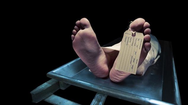 Vue des pieds d'un corp à la morgue.