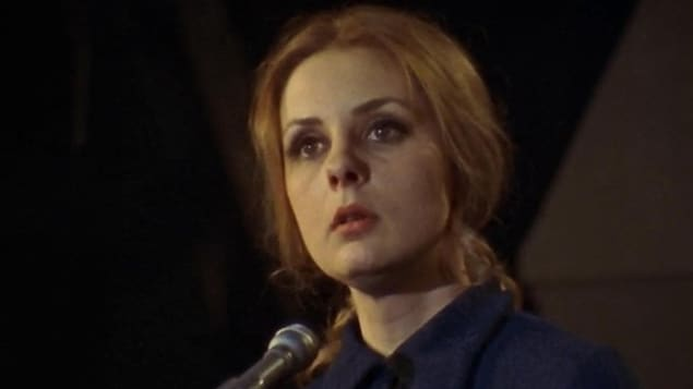Michèle Lalonde lors de la première « Nuit de la poésie », le 27 mars 1970