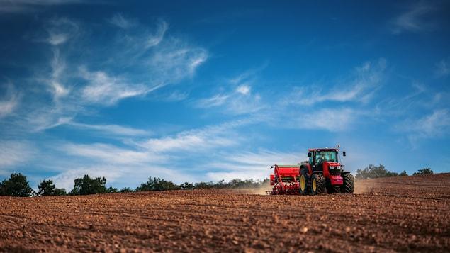 Ensemencement de terres agricoles au printemps.