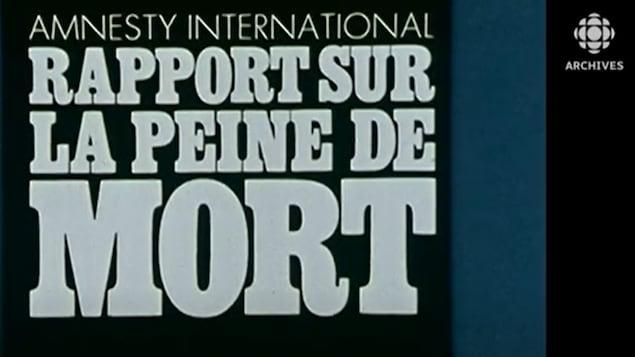 Page couverture d'un rapport d'Amnistie Internationale sur la peine de mort