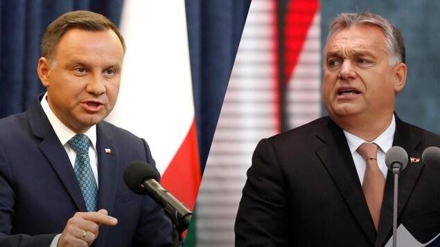 Les deux politiciens parlent au micro, dans un montage photo.