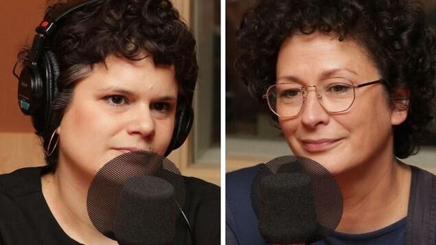 Montage montrant deux femmes ne rémission de cancer devant un micro.