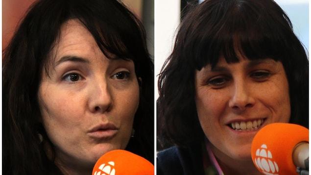Deux femmes parlent au micro.