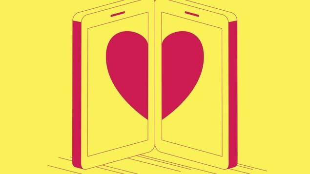 Illustration de deux téléphones intelligents côte-à-côte sur lesquels s'affichent un cœur.