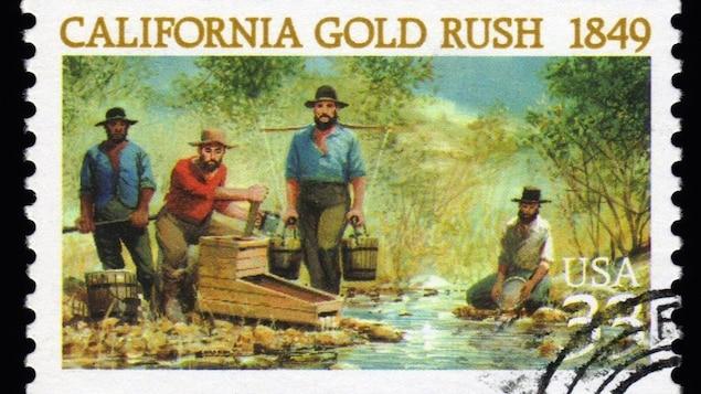 Timbre américain de 1999 commémorant la ruée vers l'or californienne. | ©iStockphoto