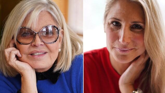 Photos des deux femmes en gros plan, l'une vêtue de rouge et l'autre, de bleu.