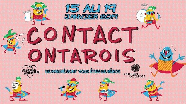 Bannière rose aux couleurs de Contact Ontarois