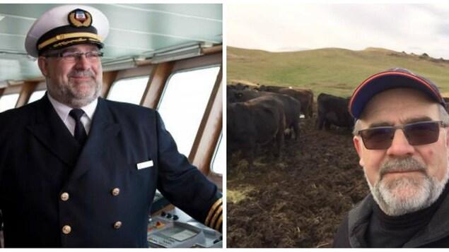 À gauche, on voit Bernard Langford dans son habit de capitaine, à bord d'un bateau, à droite, il est posé dans un champ devant ses animaux
