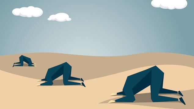 Illustration de trois hommes qui ont la tête enfouie dans le sable.